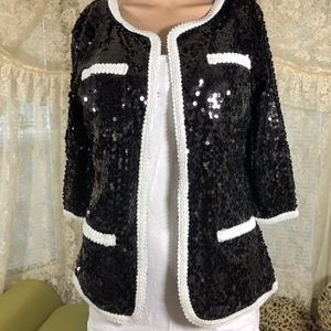 Sale! IMAN BLACK Sequin Jacket NWOT